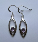 Sterling Silver Amethyst Cubic Zirconia Teardrop Earrings